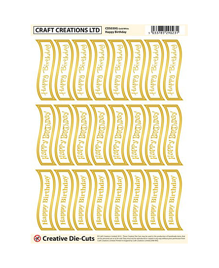 CDS030G Creative Die Cut Greetings Banners Happy Birthday – Gold-white Pack of 2