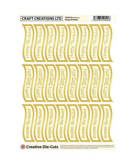 CDS031G Creative Die Cut Greetings Banners Happy Birthday – Gold-cream Pack of 2