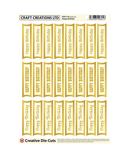 CDS111G Creative Die Cut Greetings Banners Mixed Happy Birthday – Gold/cream Pack of 2