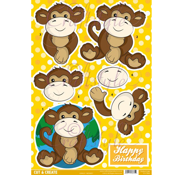 Jungle Topper – Monkey CC-CT003 Cut and Create(Pack of 2)
