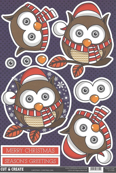 Christmas Owl CC-CT054 Cut and Create (Pack of 2)