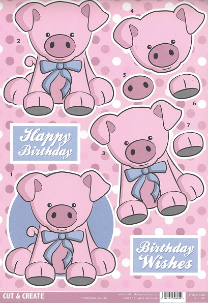 Farmyard Piglet CC-CT007  Cut and Create (Pack of 2)