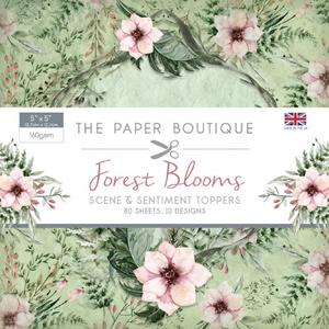 SALE !!!! Paper Boutique Forest Blooms Scene & Sentiment Toppers 5″ x 5″ 80 sheets, 10 Designs