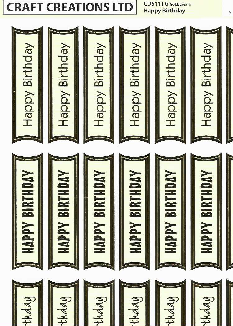 SALE  !!!! Craft Creations Creative Die-Cuts Happy Birthday 2 Gold on Cream Pack of 2
