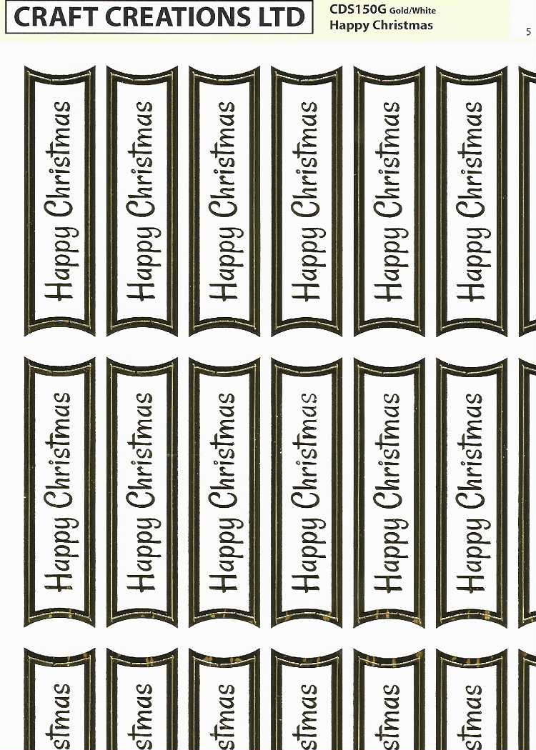 Craft Creations Creative Die-Cuts Happy Christmas Gold on White Pack of 2